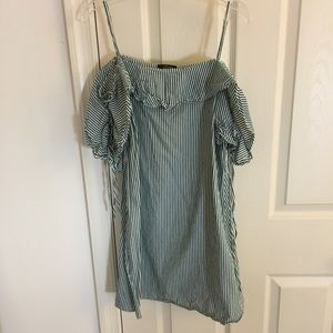 Soprano green white off the shoulder striped dress